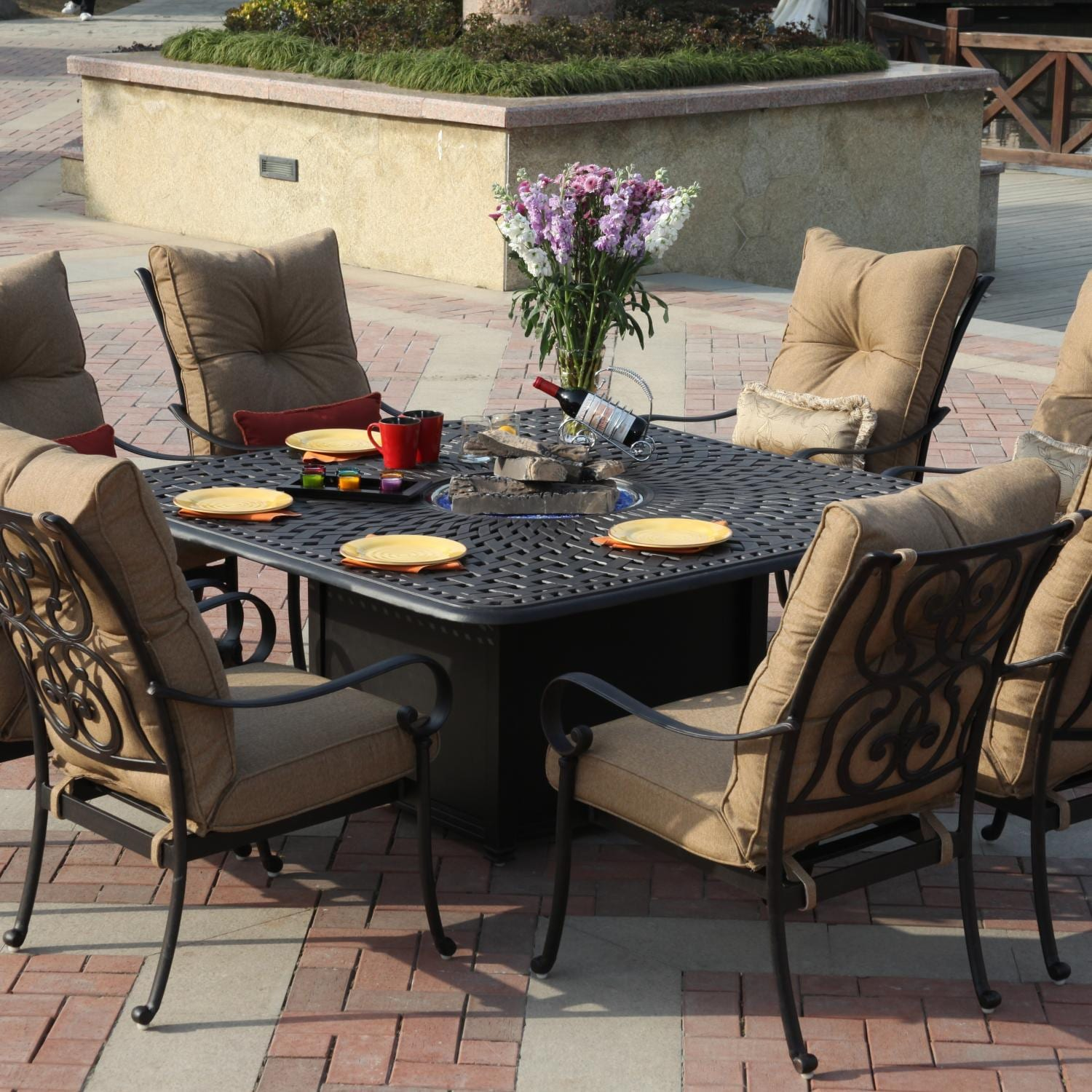 Darlee Santa Anita 8 Person Cast Aluminum Patio Fire Pit Dining Set Ultimat