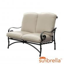 Elysian Aluminum Patio Loveseat W/ Sunbrella Canvas Antique Beige Cushion By Lakeview Outdoor Designs image
