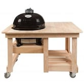 Primo Ceramic Charcoal Smoker Grill On Countertop Cypress Table - Oval Junior