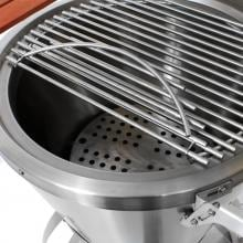 Caliber Pro Kamado Grill On Stainless Steel Cart With Wood Inserts - Red Caliber Pro Hinged Stainless Steel Cooking Grate (Shown on Stainless Steel Grill)