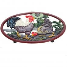 Cajun Classic Hen And Rooster Cast Iron Trivet - GL10439B Cajun Cookware Hen And Rooster Cast Iron Trivet - Side View