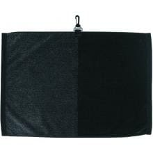 Toppers Premier Jacquard Golf Towel Black/Gray Front of Towel