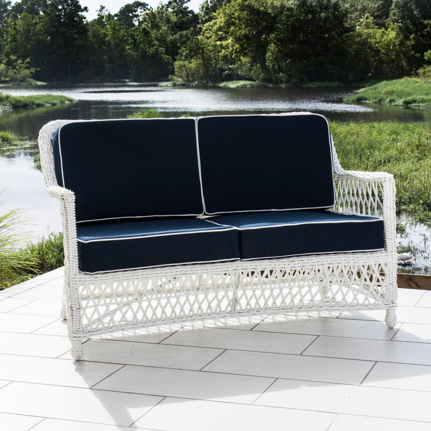 Everglades White Resin Wicker Patio Loveseat By Lakeview Outdoor Designs