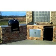 Primo Ceramic Charcoal Smoker Grill - Oval XL Primo Oval XL Installed in Outdoor Kitchen