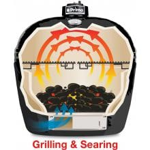 Primo All-In-One Oval Large Ceramic Kamado Grill With Cradle & Side Shelves - 7500 Primo All-In-One Oval Large Ceramic Kamado Grill With Cradle & Side Shelves - Cooking Configuration - Grilling & Searing