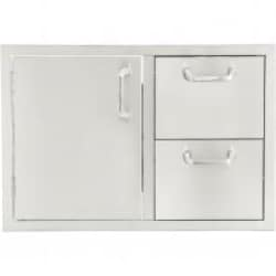 BBQGuys.com Kingston Series 30-Inch Stainless Steel Left-Hinged Access Door & Double Drawer Combo image