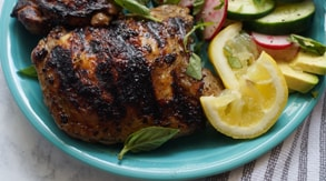 Grilled Balsamic Chicken Thighs with Cucumber & Radish Salad