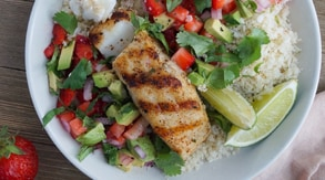 Grilled Halibut with Strawberry Guacamole & Coconut Cauli Rice