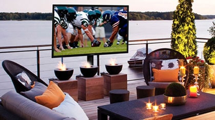 Watching the Big Game on a TV outdoors