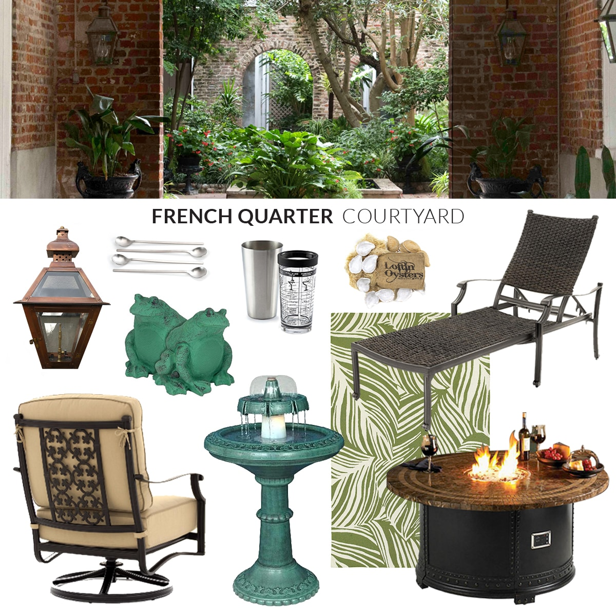 French Quarter Courtyard inspired outdoor products