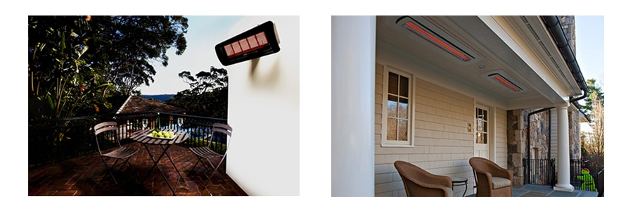 Infratech ceiling mount electric  infrared patio heaters in outdoor living space