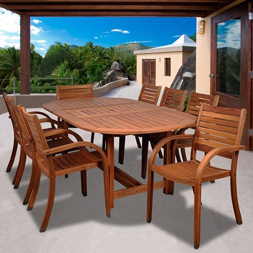 ArizoArizona 9 Piece Eucalyptus Patio Dining Set With 71 X 43 Inch Oval Extension Table And Stacking Chairs By Amazonia