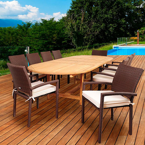 Hillside 11 Piece Resin Wicker Patio Dining Set by Amazonia