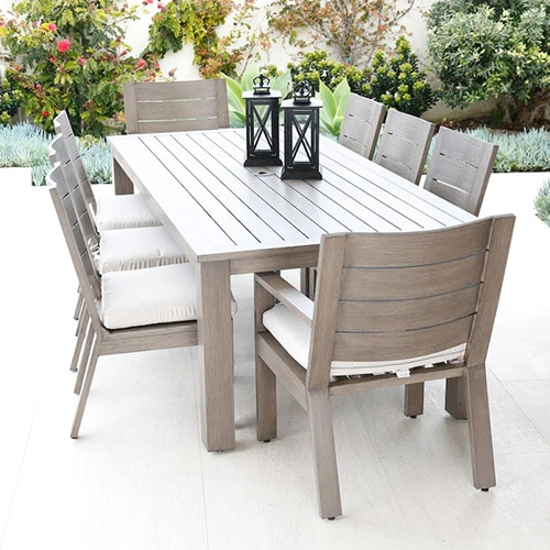 Laguna 9 Piece Aluminum Patio Dining Set W/ 90 X 42 Inch Rectangular Table & Sunbrella Canvas Flax Cushions By Sunset West