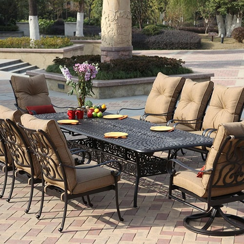 Santa Anita 11 Piece Cast Aluminum Patio Dining Set W/ 92 X 42 Inch Rectangular Extension Table By Darlee