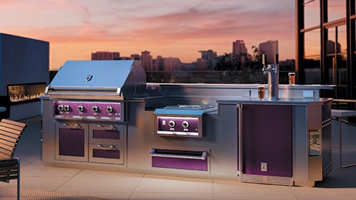 Hestan purple colored stainless steel outdoor kitchen island