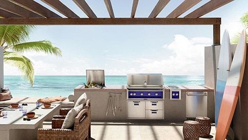 Hestan Premium BBQ Island Storage in coastal outdoor kitchen
