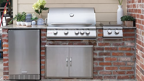 Blaze Grill Island with stainless steel outdoor kitchen storage