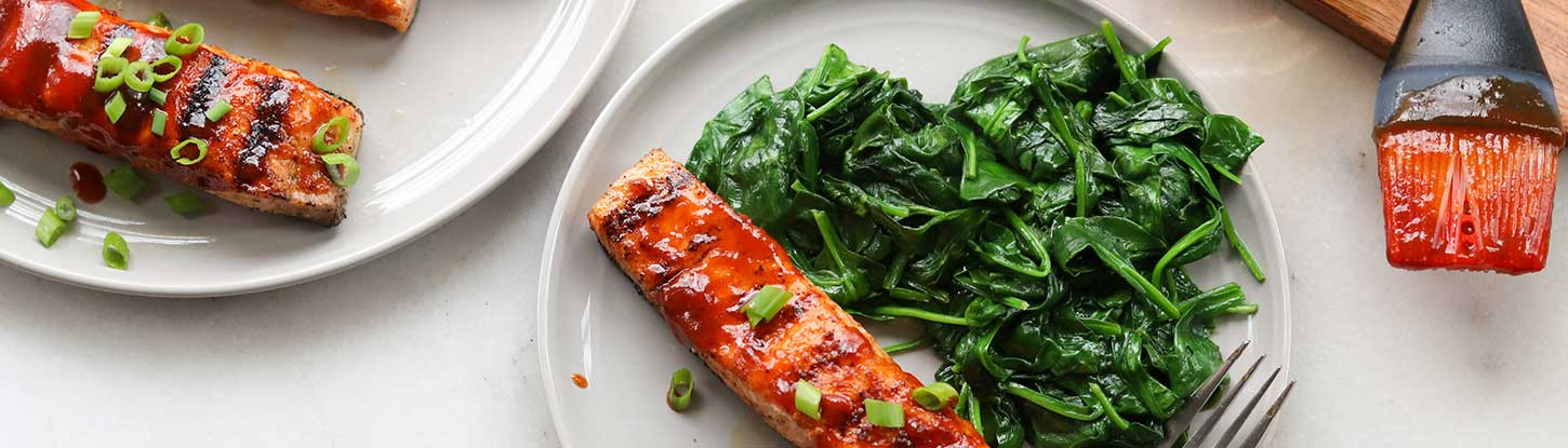 BBQ Grilled Salmon, Scalions, and Greens