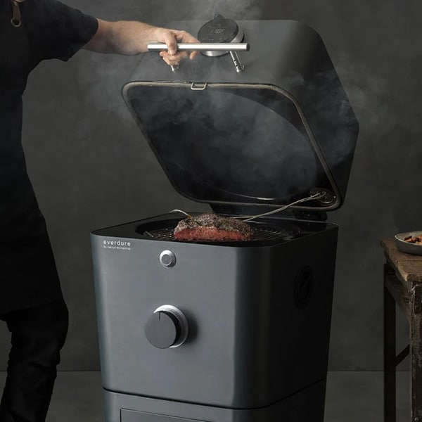 Everdure 4K Charcoal Grill with lid open