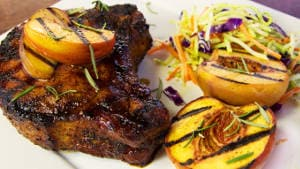 Grilled Bourbon Peach Glazed Pork Chops Recipe