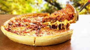 Chicago-Style Deep Dish Pizza Recipe with Red Wine Infused Caramelized Onions
