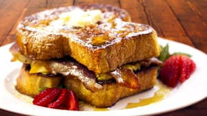 Ultimate French Toast Breakfast Sandwich Recipe with Bacon Syrup
