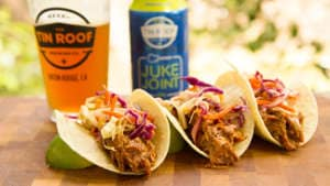 Tin Roof Beer-Brined Pulled Pork Tacos Recipe with Pineapple Slaw
