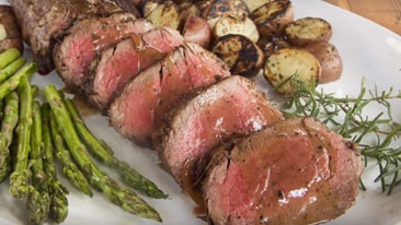 Beef Tenderloin with Shallot and Red Wine Reduction Recipe on a Primo Grill
