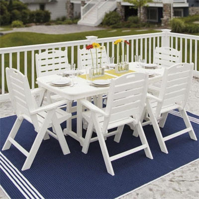 Nautical 7 Piece Recycled Plastic Patio Dining Set By POLYWOOD