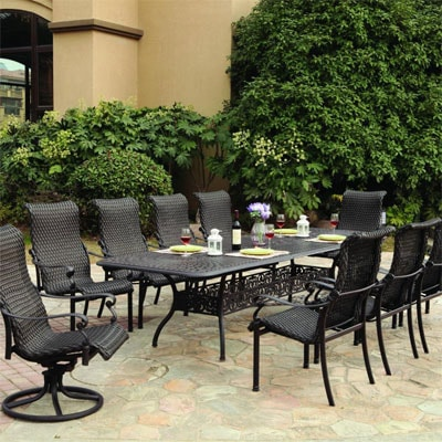 Victoria 11 Piece Wicker Patio Dining Set By Darlee